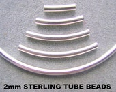 BEAD, TUBE, Sterling, Curved, Silver, Noodle, 2 x 10mm, , 2 x 25mm, Liquid Silver, Choice, Cylinder, 10 Pieces,
