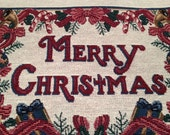 Pillow Panel, Tapestry, Home Decor, Sewing, Craft Supplies, Sewing Supplies, Tote Bags, Needlework, Merry Christmas, Script