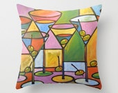 "Decorative martini glasses throw pillow cover ... from my original abstract martini art painting, ""Martinis and Olives"" ... 16"" x 16"""