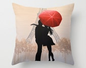 """Decorative throw pillow cover ... from my original painting, """"Love In Paris""""...16"""" x 16"""""""