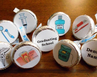 216 Dental School Graduation Stickers for Chocolate Kiss Candy-PRINTED FOR YOU