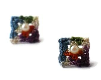 Crochet Earrings Granny Square Stud Earrings Shabby Chic Fabric Dark Orange Indigo Blue Purple Ecru Green