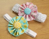 Fabric Flower Hair Clip Headband Made to Match Any Outfit - hair clip headband brooch clothing accessory - FREE SHIPPING with order