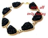 SALE only today ~ Druzy light black bracelet