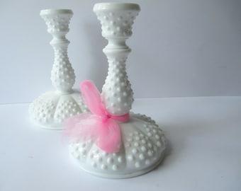 Vintage Fenton Milk Glass Hobnail Candleholder Pair - Elegant