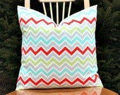 Zoom Zoom Harmony Chevron Pillow Cover - Grey, Red, Green, Blue