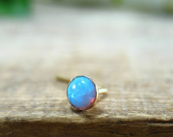 Nose & Tragus Stud Blue Opal Gold Filled - Fire Opal Nose Stud, Fire Opal Tragus Earring, Gold Opal Nose Stud, Gold Opal Tragus Stud