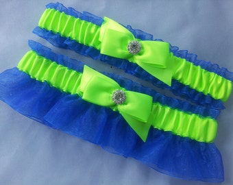 Royal Blue Lime Green Garter Set Rhinestone Accent Bridal Garter Set Wedding