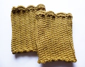 Crocheted Olive Green Boot Cuffs - ACCrochet