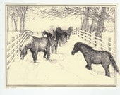 Belgian Group!This 6-pack of blank, ivory cards shows finely detailed pen-and-ink drawings of a group of Belgian work horses in the snow.