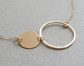 Eclipse circles necklace, simple double circles necklace, infinity necklace,  Minimal everyday necklace