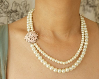 Bridal necklace, pink hydrangea enamel flower pearl necklace, wedding jewelry, double strands pearls bridal statement necklace
