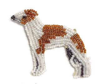 Sale: ITALIAN GREYHOUND or WHIPPET beaded keepsake dog art pin brooch (Ready to Ship)
