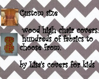 Custom made Padded cover for Wood wooden High Chair - Reversible - choose 2 cotton fabric