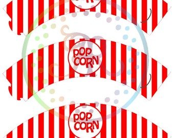 Popcorn Cupcake Wrappers, Movie Inspired Cupcake Holder, DIGITAL CUPCAKE WRAPPERs Cupcake Holders, Printable Wrappers, Popcorn Theme