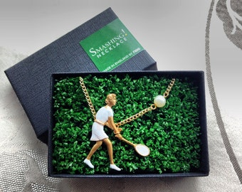 Smashing Tennis Player Necklace  - enamelled on vintage brass with pearl