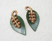 Vintage Enamel Copper Leaf Earrings Green Jewelry E5616