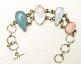 Sterling Gemstone Bracelet Unusual Silver Bracelet B5386