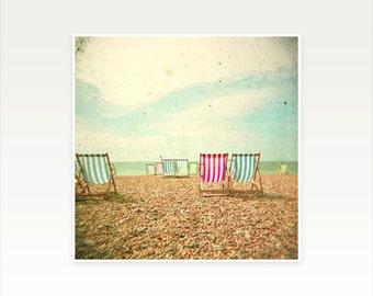 Beach Photography, Seaside Art, Beach House Decor, Deck Chairs, Ocean, Nautical - Deckchairs