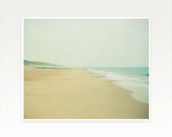 Beach Art, Ocean Art, Landscape Photo, Seaside, Sand and Grey, Minimalist Art, Nautical Decor - Beach Walk