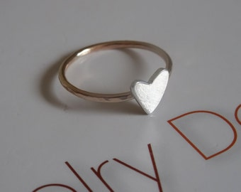 Heart ring-sterling silver-gold-filled-sweetheart-bridesmaid-friendship-mother-daughter-Christmas-Handmade by Norita Designs