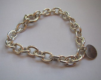 Sterling Silver Heavy Link Charm Bracelet with Round Tag, Classic Style