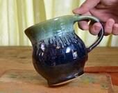 Coffee mug ceramic, tea cup pottery, glazed in gunmetal gray green, handmade stoneware by hughes pottery hand made