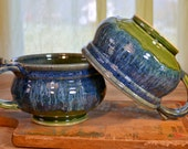 Chowder crock ceramic, handmade soup bowl, cappuccino mug, chili onion soup, glazed in green and blue, handmade stoneware by hughes pottery
