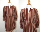 Peter Pan Collar Dress - Rust Striped Dress - Long Sleeve Dress