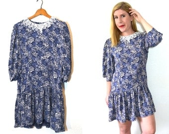 20 DOLLAR SUPER SALE!  Blue Floral Dress - Lace Collar Dress - Drop Waist Dress