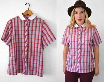 Pink Plaid Shirt Women - Peter Pan Collar Shirt - Pink Blouse - Collared Shirt