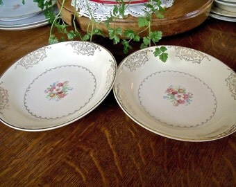 "2 VinTage 8"" x 1 1/4"" matching China BOWLS-PADEN CITY Pottery Co.-floral with gold embellishments"