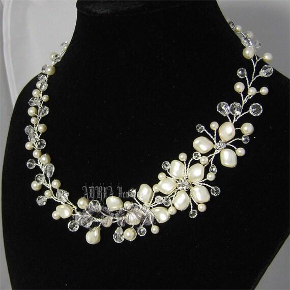 Bridal Necklace, Asymmetrical Ivory Swarovski Pearl Floral Vine Silver Wedding Necklace, Pearl and Crystal Wedding necklace, Wedding Jewelry