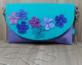 Small Lilac and Turquoise Flower Clutch - Evening Bag - Detachable Chain Handle - Zip - Pocket - Wedding - Party - Summer - Gift