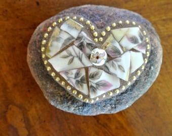Broken China Mosaic Heart Rock, Paperweight, Garden Stone