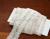 Scalloped Ivory Eyelet  - 3 yards Vintage Fabric Embroidered Trim New Old Stock