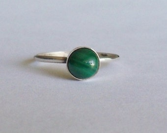 Malachite and sterling silver stacking ring