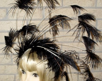 Custom Made Large Black Feather Fascinator Headband by Taissa Lada Designs,Old Hollywood,Gothic,Royal Ascot,Flapper Headband,Vaudeville