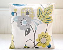 blue yellow gray floral cushion cover 14 inch, flowers leaves decorative pillow cover 35 cm