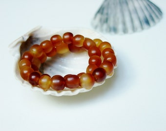 Simple Golden Horn Bracelet / Honey / Amber / Golden / Translucent / Hand Carved / Water Buffalo Horn / Stretchy / Natural / Tribal / Ethnic