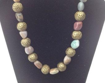 Gemstones and Rosebud necklace