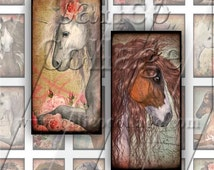 1X2 Domino Collage Sheet Wild Horses Instant Download