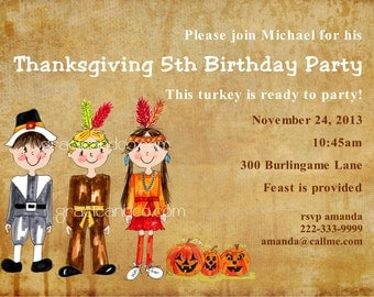 Custom Thanksgiving feast birthday invitations personalized fall dinner party invitation 5th bday  Indian Pilgrim pumpkins invite