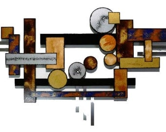 """BIG Contemporary Geometric Abstract Wood and Metal wall Sculpture by Diva Art69 67""""x 40"""""""