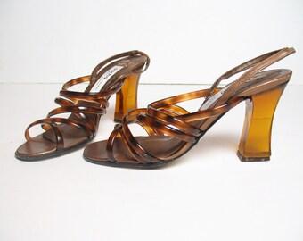 SACHA LONDON TRANSLUCENT strappy heels, 6.5