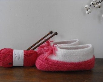 Woman's Hand Knit Wool Felted Travel Cottage Slippers