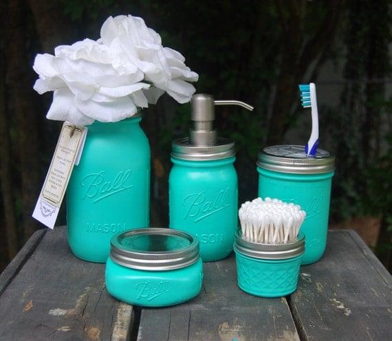 Sea green turquoise mason jar 5 pc bath set talona bath by for Sea green bathroom accessories