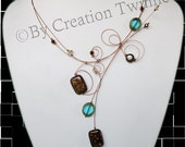 brown and aqua necklace, swirls jewelry, wedding jewelry,  mother gift, bridesmaids jewelry,funky jewelry, evening necklace, bridal jewelry