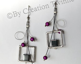 purple gray earrings, modern earrings,cool jewel, square earrings, swirls earrings,bridesmaids earrings, wedding jewelry, funky earrings