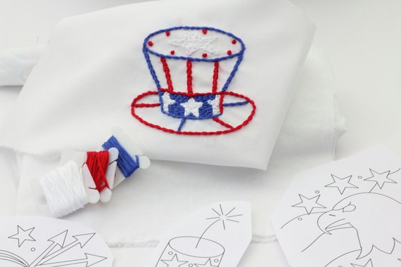 4th of July Embroidery Pattern Hand Embroidery Firecracker Fireworks Design